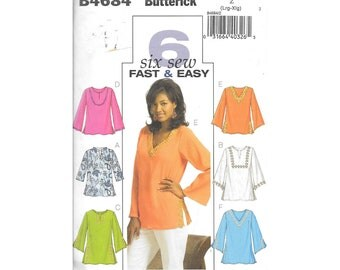 Misses Top and Tunic Sz 16 to 22 Sewing Pattern Butterick B4685 Plus Size