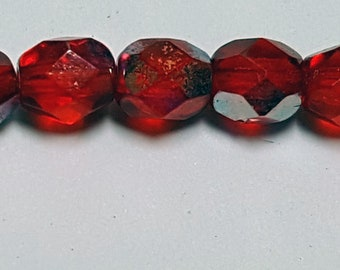 50 - Vintage Czech Fire Polished Glass 4mm Faceted Round Beads - Red Transparent AB