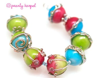 pink, blue and green 16mm round Handmade lampwork glass beads SRA set of 6 Lampwork Beads, Unique Colorful Beads for Crafts