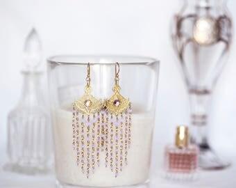 """Violet Opal Swarovski Crystal Chandelier Earrings 3.25"""" Long Dangle Gold Vermeil Gold Fill Wire Wrap"""