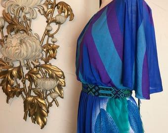 1970s dress tropical dress flutter sleeve dress size medium fiorella paris 27 waist color block dress summer dress