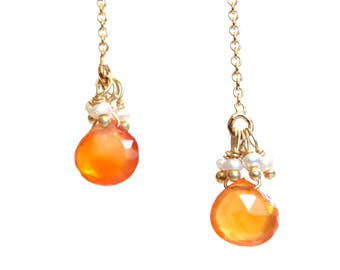 Carnelian and Pearl Earrings/Handmade Jewelry/Threader Earrings/Beaded Jewelry/Minimalist Jewelry