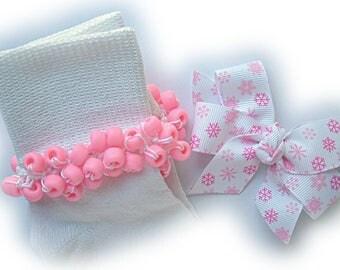 Kathy's Beaded Socks - Pink Snowflakes Socks and Hairbow, girls socks, school socks, pink socks, pony bead socks, snowflake socks