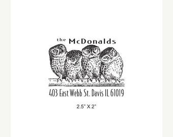 Super Summer Sale Four Owls Custom Return Address Rubber Stamp AD288