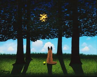 Belgian Malinois Dog Folk art print by Todd Young SUMMER MOON