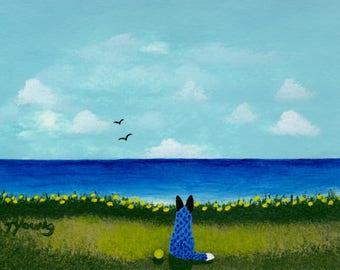Australian Cattle Dog Blue Heeler art print by Todd Young AT THE BEACH