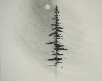 Charcoal Pine FINE ART reproduction PRINT