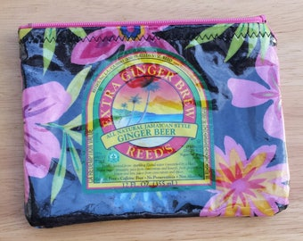 Recycled Repurposed Wrapper Zipper Pouch--Ginger Beer--Tropical makeup bag electronic charger cord organizer
