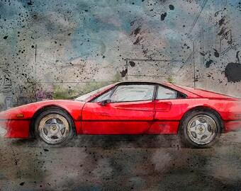 Ferrari 308 Grafitti Sketch, Automotive Art, Boys Room Decor, Man Cave, Art for Men, Large Wall Art Print