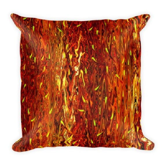 Flames Fire Fall Decorative Designer Pillow 16 inch Square with Zipper and Insert