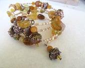 Memory Wire Bracelet, Amber Bracelet, Beaded Bracelet, Bohemian Wrap Bracelet, Earthy Jewelry, Wrap Bracelet, One Size Fits all