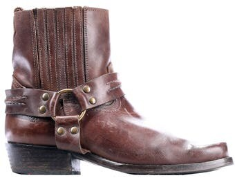 size men 7.5 Retro Cowboy Boots Men's CHELSEA 80s Brown Leather Cuban Heel DISTRESSED Booties Buckle Square Toe sz US men 7.5, Uk 7, Eur 40