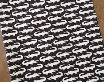 Japanese Cotton Canvas - alligators on black