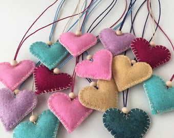Six Wool and Lavender Herbal Pendants-- assorted colors