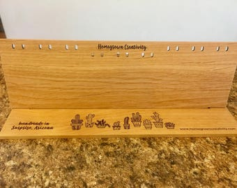 Custom Wood Earring Display Cards | Holds 9 Pairs | Engraved Logo Text Fonts