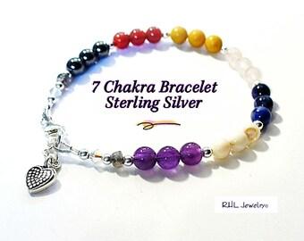 Seven Chakra Bracelet, Ladies Gemstone Bracelet, Chakra Jewelry, Sterling Silver - B2013-22B