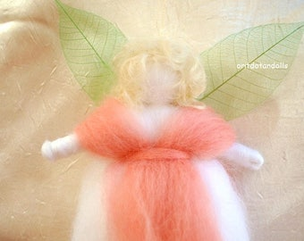 Fairy, wool blessing fairy, needle felted Waldorf art doll in pure white