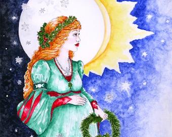 Winter Solstice Yule Pregnant Goddess Art Print Pagan Celtic Mythology Fantasy Altar Decor Moon Sun Ink and Watercolour Illustration