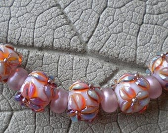 luminous lilac silver glass floral lampwork beads by cherie sra r114 flamework glass bead silver glass