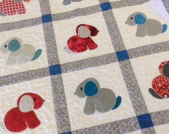 Puppy Love crib quilt baby boy blanket modern gray and blue animal nap quilt for toddler