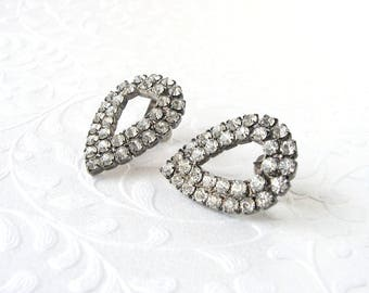 Classic 1950s Teardrop Rhinestone Shoe Clips Vintage Costume Jewelry Accessory Chic Wedding Bridal Formal Cocktail Pageant Ballroom Prom