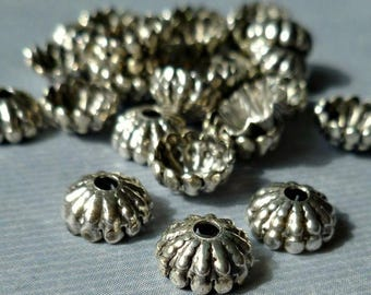 24 Silver Ox Plated 7mm Bead Caps with Great Detail  (33-6-24)