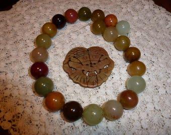 Rainbow Soocho Jade Bead Strand with Oriental Jade Serpentine Pendant, Large beads and Pendant, Beautiful Pastel Colors, Create Jewelry