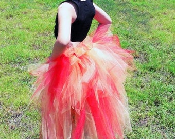 SUMMER SALE 20% OFF Fire Fairy - Children's Custom Sewn 3 Tiered Pixie Tutu Bustle - Up to 24 inches in length - available in children's siz