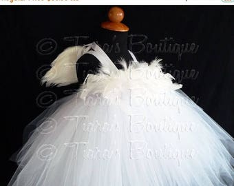 SUMMER SALE 20% OFF White Angel Tutu Dress Costume - Angelica, Custom Sewn Pixie Tutu Dress w/ Angel Wings - up to 24 mo - for Halloween, Va
