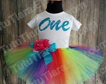 "SUMMER SALE 20% OFF First Birthday Rainbow Tutu Skirt and Shirt Set for Girls, Babies, Toddlers, Economy Less Full Tutu - Imagine - 8"" Sewn"