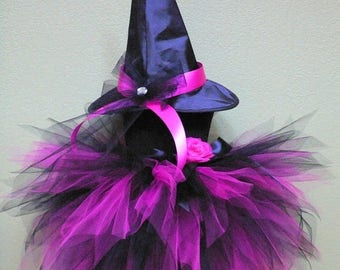 SUMMER SALE 20% OFF Halloween Witch Tutu Costume - Fuchsia Pink Black Pixie Tutu - Rockstar Witch - Custom Sewn 3 Tiered Pixie Tutu & Witch