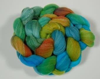 "Roving (Top) braid of spinning fiber - Targhee 80 silk 10 Bamboo 10 blend  colorway ""Sea Garden"""