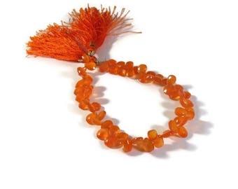 Memorial Day SALE - Orange Carnelian Beads, Bright Teardrop Briolettes, 8 Inch Strand of Pear Shaped Natural Gemstones, 7x4mm - 8x5mm (B-Ca3