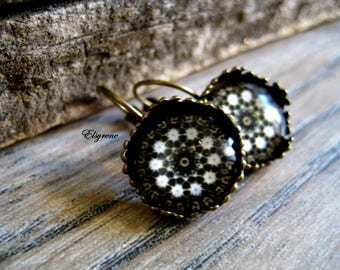 Geometric earrings-Mandala Flower brass Earrings-black white lace filigree earrings-whimsical Romantic earrings-friendship gift-bohemian