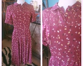 Vintage 1940s Dress Novelty Print Burgundy Red Atomic Swing Rockabilly Pinup M L 40s