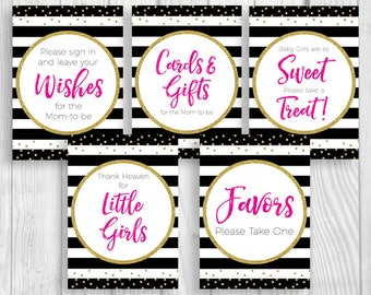 Black White Stripes 5x7 Printable Girl's Baby Shower Sign Bundle - Hot Pink Gold Glitter - Guest Book, Cards and Gifts, Favors & More