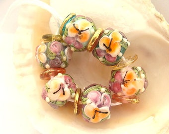 6 Floral Beads & 7 Disc Spacers Handmade Lampwork