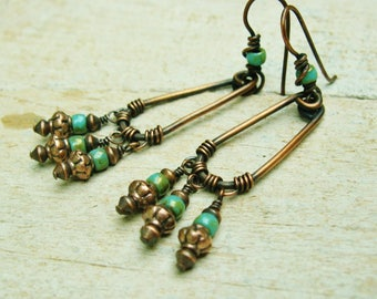 Czech Glass and Copper hoop boho dangle earrings - wire wrapped turquoise green picasso bead dangles