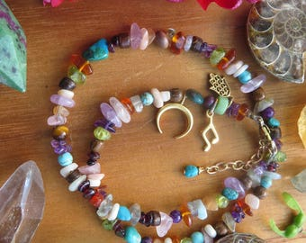 Gemstone Double Wrap Bracelet - Mixed Gem Hamsa Music Note Luna - Earthy Hippy Jewelry - Amber Hippy - Bohemian Jewelry - Festival Fashion