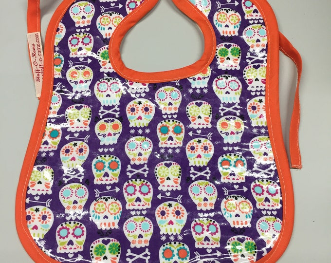 Wipeable Baby Bibs - Day of the Dead Sugar Skulls