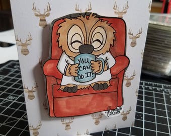 Handmade Card  inspirational you can do it card featuring Brentwood owl for the coffee lovers blog hop