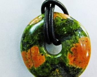 Unikite Green Orange Donut Choker on a Leather Cord Unisex Necklace