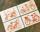 BICYCLE PRINT SERIES 4 Pack Hand Printed Letterpress with Kraft Envelopes