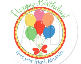Personalized Stickers -- Balloons -- Personalized Labels, Personalized Birthday Party Labels, Party Favor Stickers -- Choice of Size