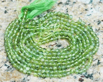 "4mm Round Natural Green Peridot Gemstone ~ 14"" strand"