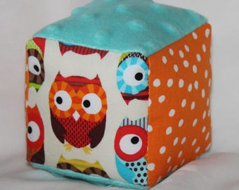 Small Cream Owls Fabric Block Rattle Toy