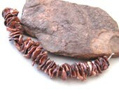 Metallic Rust Copper Luster Freshwater Cornflake Pearl Strand - 4 inches