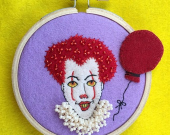 wool felt halloween IT clown miniature wall hanging OOAK