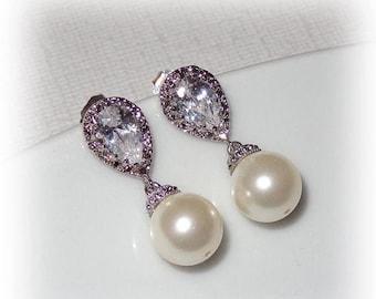 ON SALE 20% OFF Teardrop Cz Pearl Earrings Cubic Zirconia Wedding Bridal Jewelry Bridesmaid Earrings Swarovski Pearls