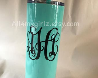 Tall Skinny Steel Monogramed Double Wall Tumbler